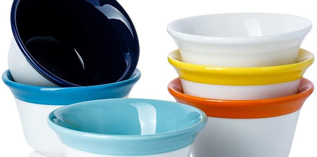 set of 6 hot assorted color porcelain souffle dish