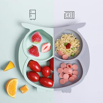 Bebamour cute silicone plate for toddlers and Babies that stick to table
