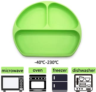 Oven safe, microwave safe, freezer and dishwasher safe divided plate for toddlers.