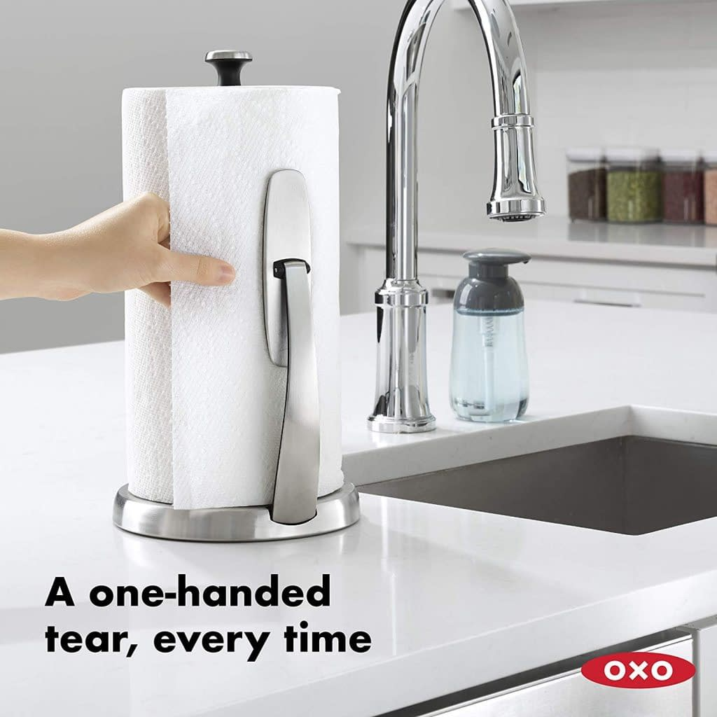 sample picture of the OXO stainless steel brushed paper towel holder