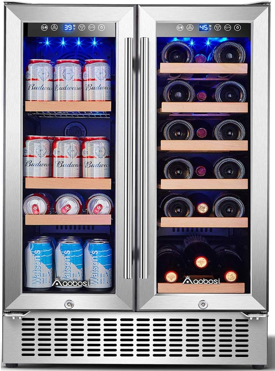 Aobosi 24 inch beverage and wine cooler refrigerator