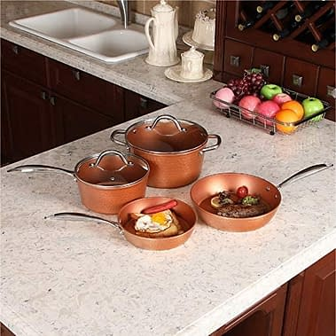 Copper Hammered Non stick Induction cookware set