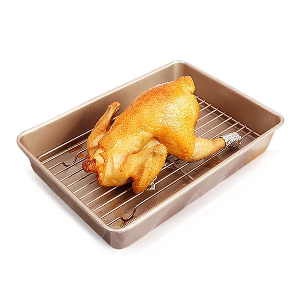 Deep turkey roaster with flat rack roasting pan, non stick.