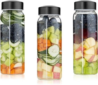 Wide Mouth Borosilicate Bottle Set for Smoothies, Reusable Dishwasher safe