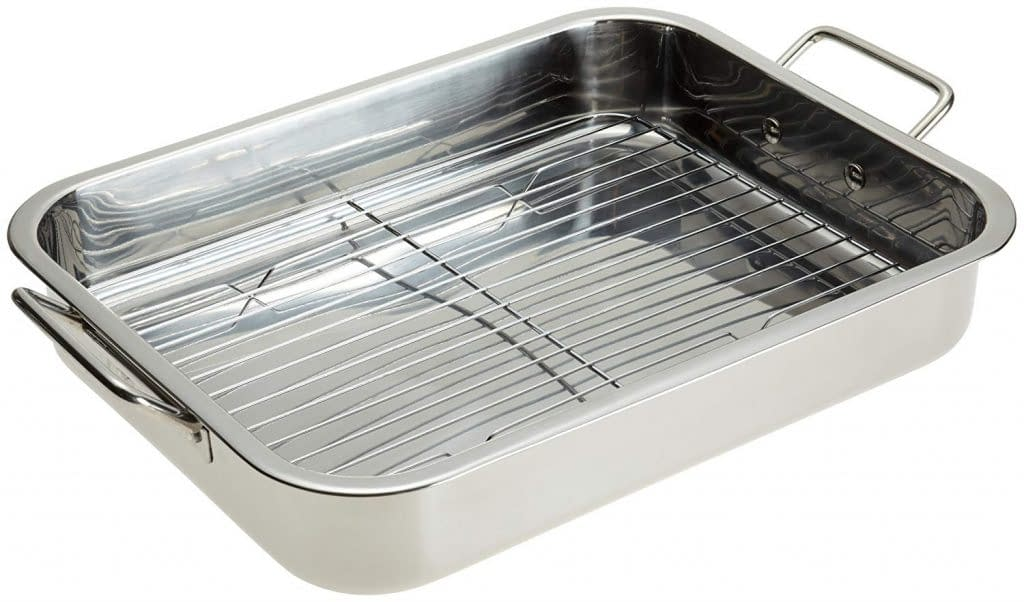 Stainless steel roasting lasagna pan with rack