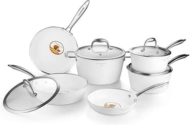 Induction and dishwasher safe scratch resistant pots and pans set with lids, 10pcs.