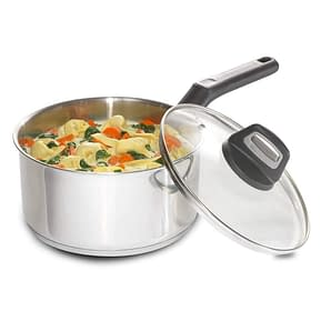 Black and Decker durable stainless steel saucepan with glass and cover for induction hob
