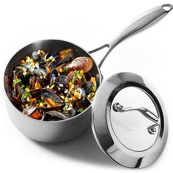Nickel-free Homi chef stainless steel ,non toxic , glass Lid saucepan.