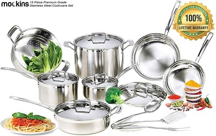 mockins stainless steel cookware sets for gas stove
