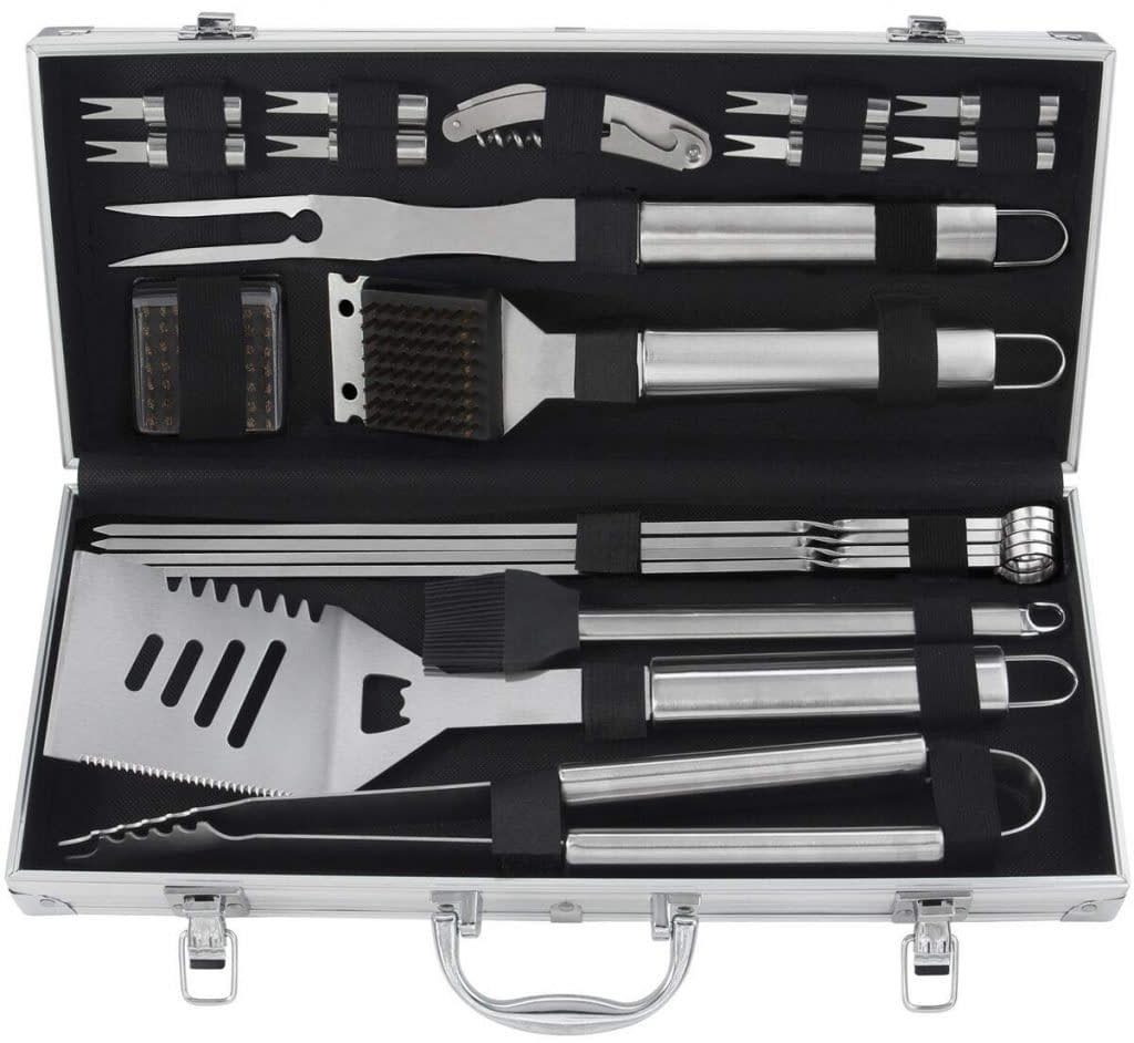 Grilljoy stainless steel accessories in aluminum storage for barbecue tools and accessories.
