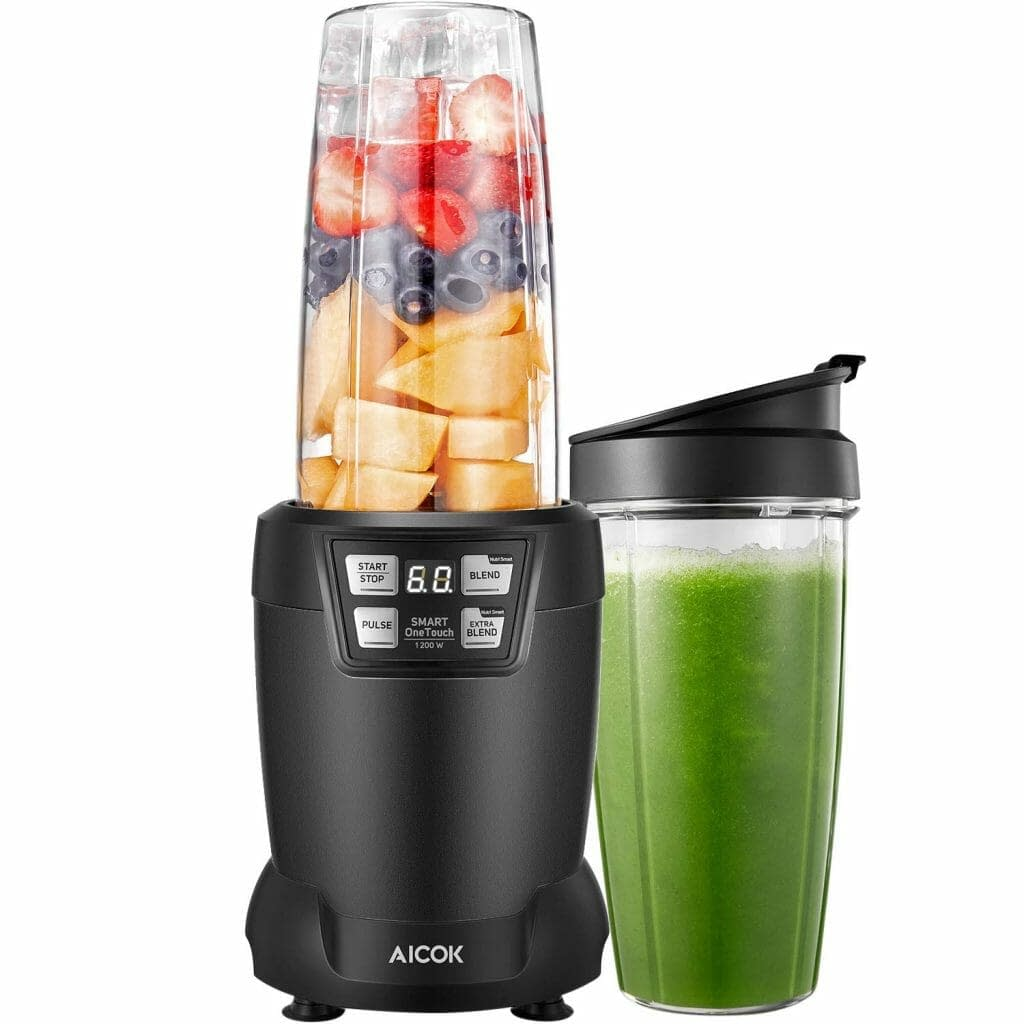 Pulse//Ice Crush//Frozen Drinks Function Blender for Smoothies 700 W 48 Oz Glass Jar Stainless Steel Blade AICOK Blender Smoothie Blender Professional Countertop Blender with Smart Speed Control