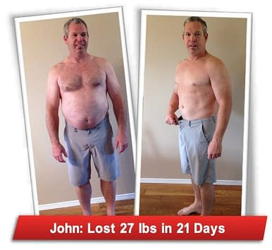A Picture of after and before flat belly review result