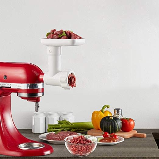 Food meat grinder attachment with accessories