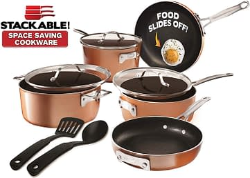 Gotham steel stackable pots and pots set nonstick ceramic coating for everyday use