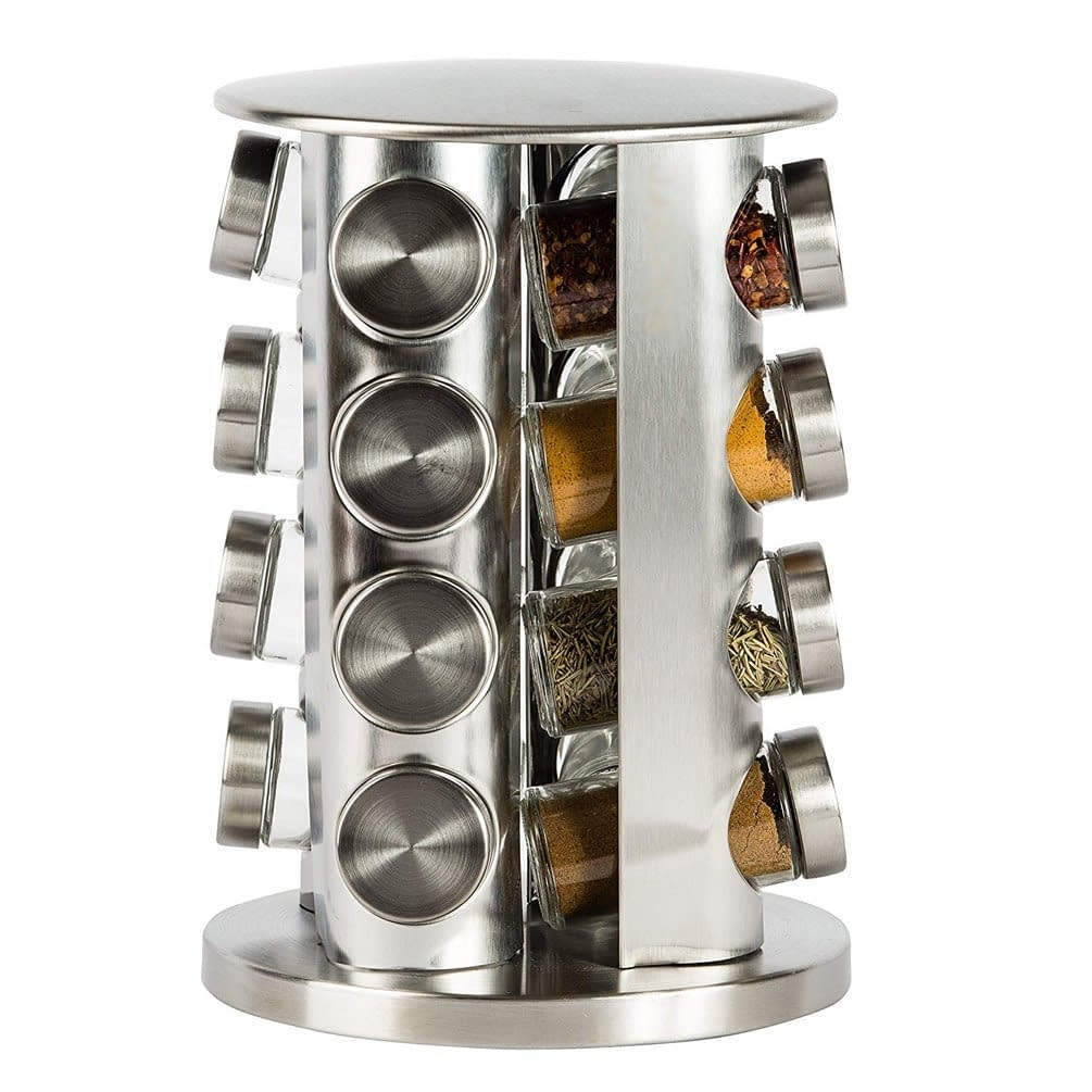 Double revolving counter top spice rack organization set with 16 jars set
