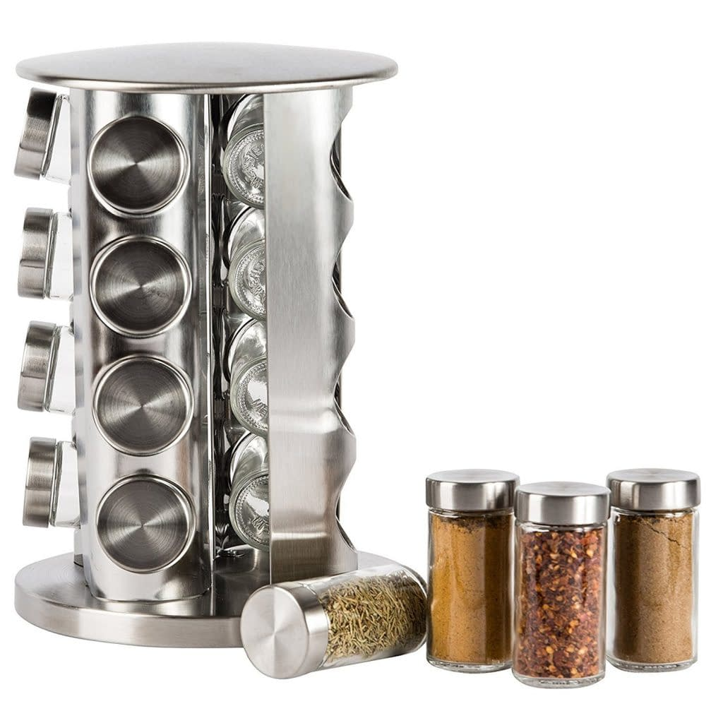stainless steel revolving counter top spice rack organizer for kitchen with 16 jars