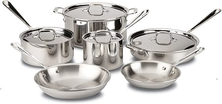 All clad stainless steel cookware set, Pots and Pans.