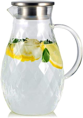 Borosilicate Glass Pitcher with Lid and Spout