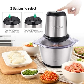 Homeasy best meat blender and grinder for pureeing meat and food processor for vegetables, fruits and nuts
