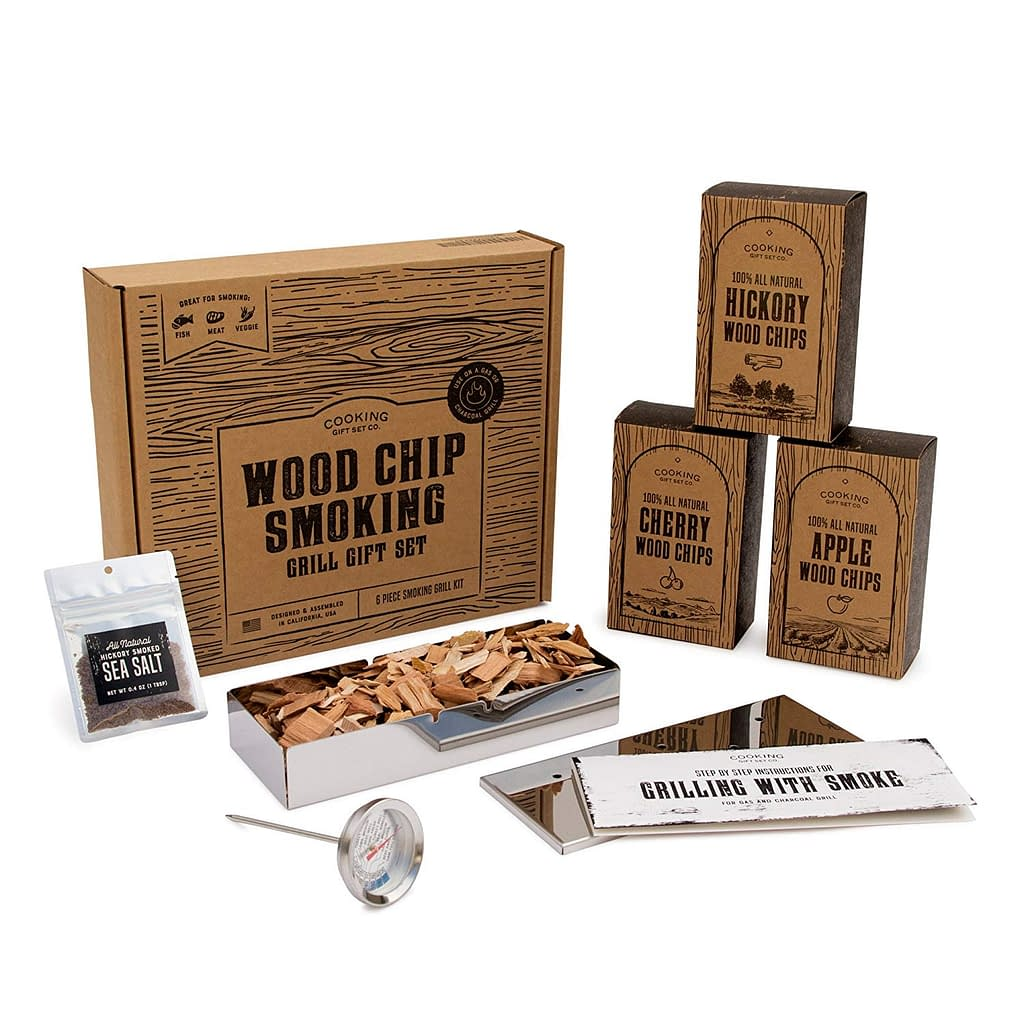 cooking gift set Barbecue smooker wood set as gift for Dad or wedding