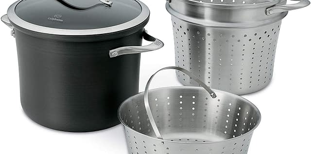 Hard - anodized aluminum nonstick cookware with steamer basket