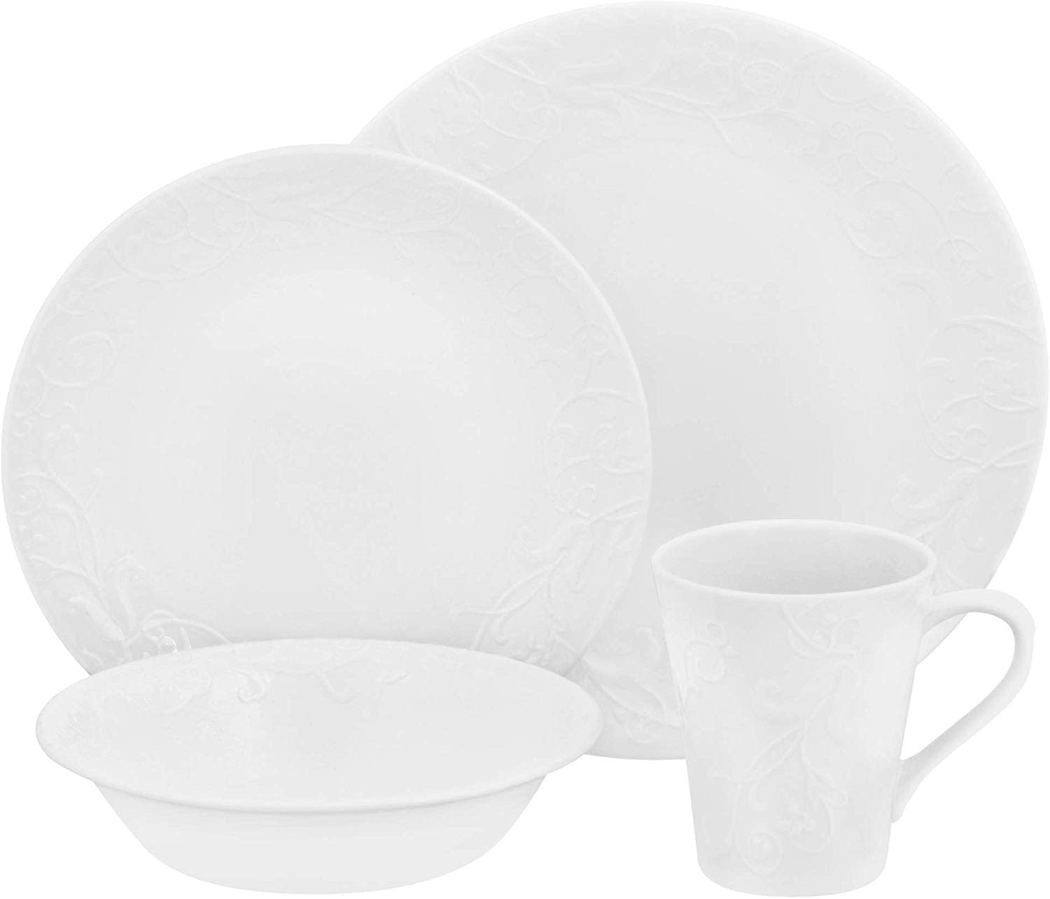 embossed white 16 piece sets