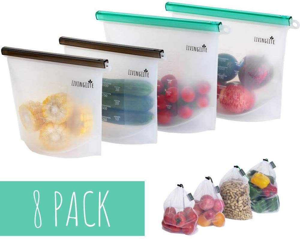 silicone storage bags with mesh grocery alternative bags to Ziploc bags